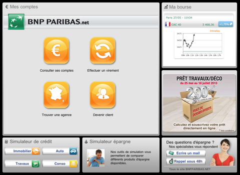 "BNP PARIBAS : Sur l'iPad avec l'application ""Mes Comptes"""